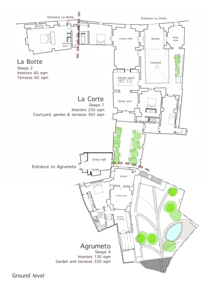 La Casa Grande vacation rental ground floor map